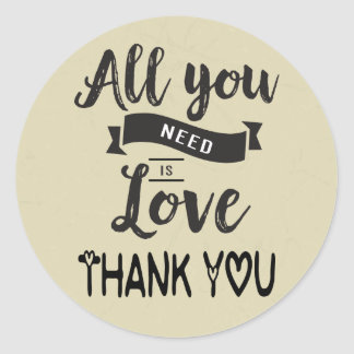 Vintage Thank You Tan And Black Love - Wedding Classic Round Sticker