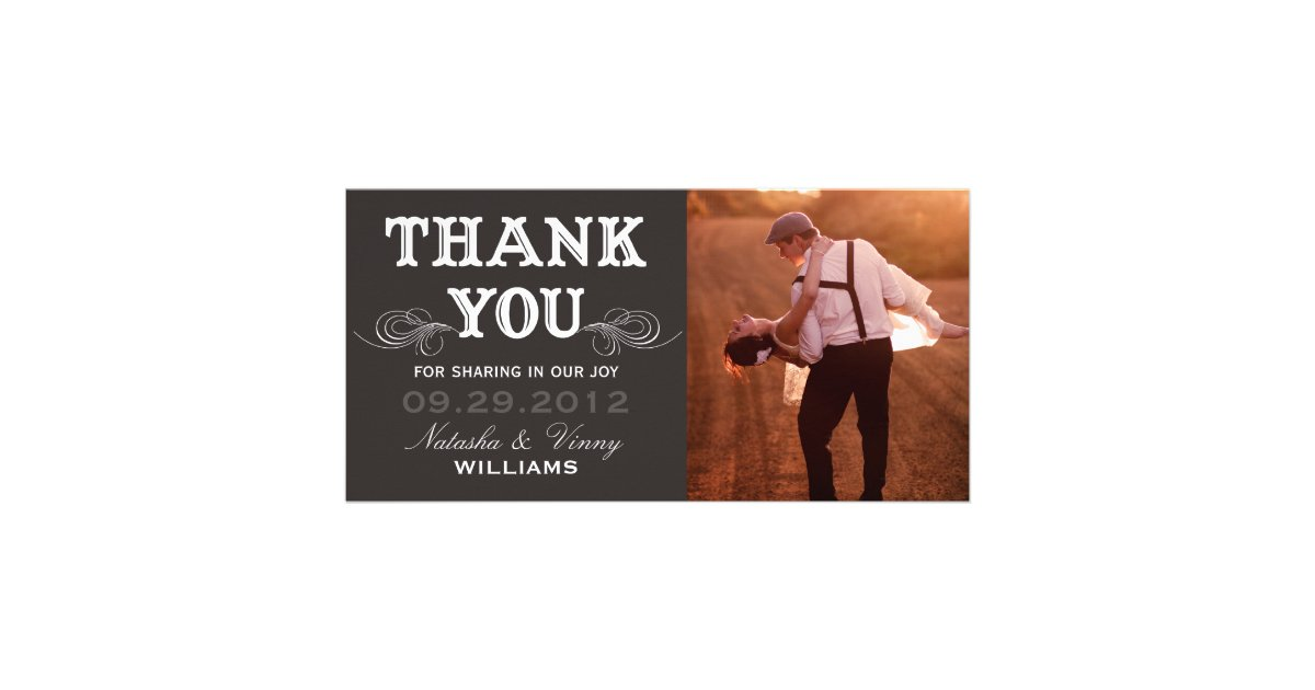 Thank You Wedding Gift Template : VINTAGE THANK YOU WEDDING THANK YOU CARD CUSTOM PHOTO CARD Zazzle