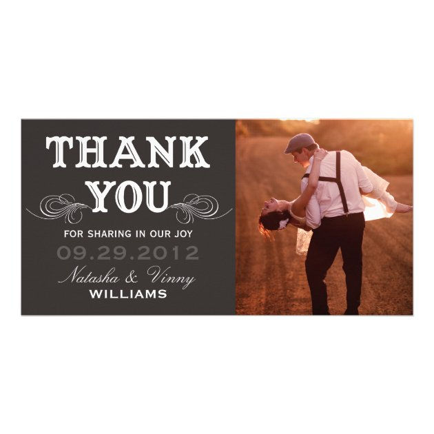 Wedding Gift Thank You Card Message : VINTAGE THANK YOU WEDDING THANK YOU CARD CUSTOM PHOTO CARD Zazzle