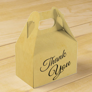 Vintage Thank You Yellow Gold And Black Favour Box
