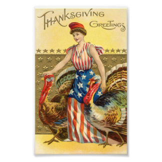 Vintage Thanksgiving American Greeting Photographic Print