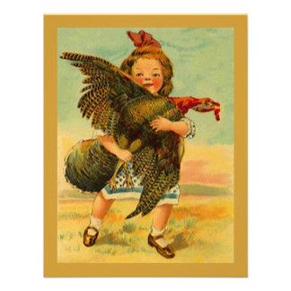 Vintage Thanksgiving Child Wild Turkey INVITATIONS