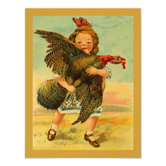 Vintage Thanksgiving Child Wild Turkey INVITATIONS