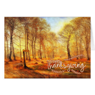 Vintage Thanksgiving Country Road Rurual Mailbox Card