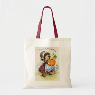 Vintage Thanksgiving Day Girl Budget Tote Bag