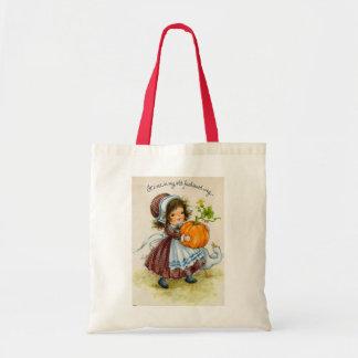 Vintage Thanksgiving Day Girl Budget Tote Bag