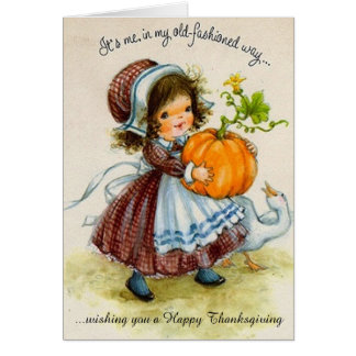 Vintage Thanksgiving Day Girl Greeting Card