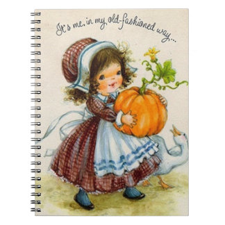 Vintage Thanksgiving Day Girl Spiral Note Books