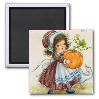 Vintage Thanksgiving Day Girl Square Magnet