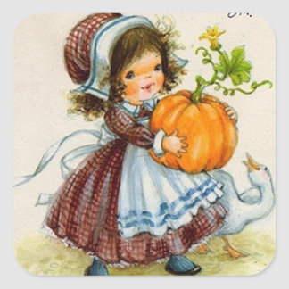 Vintage Thanksgiving Day Girl Square Sticker