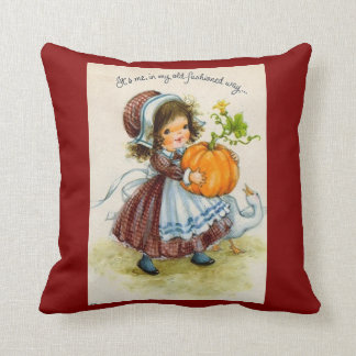 Vintage Thanksgiving Day Girl Throw Cushions