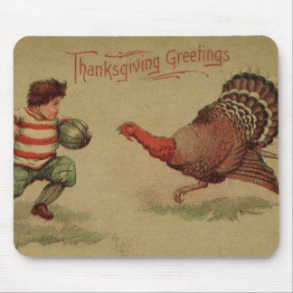Vintage Thanksgiving Football and Turkey Mouse Pad