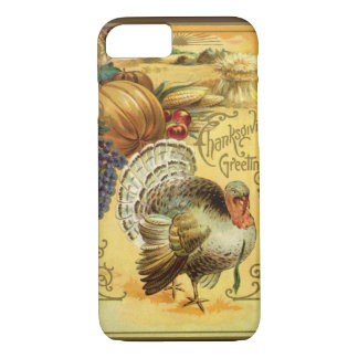 Vintage Thanksgiving Greeting with a Turkey iPhone 8/7 Case