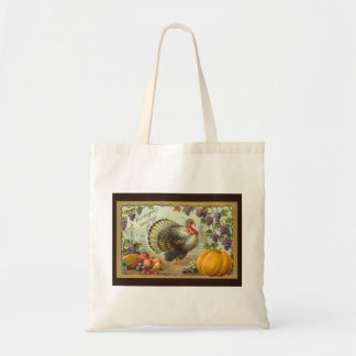 Vintage Thanksgiving Greetings Budget Tote Canvas Bag