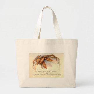 Vintage Thanksgiving Greetings & Corn Canvas Bags