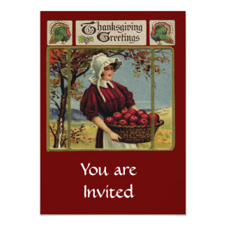 "Vintage Thanksgiving Greetings 5"" X 7"" Invitation Card"
