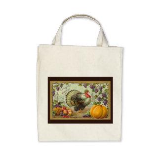 Vintage Thanksgiving Greetings Organic Tote Canvas Bags