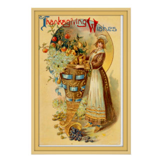 Vintage Thanksgiving Greetings Poster