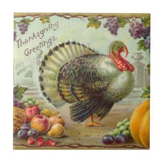 Vintage Thanksgiving Greetings Tile