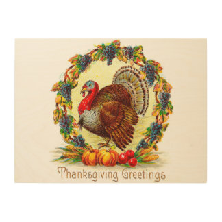 Vintage Thanksgiving Greetings Wood Canvas