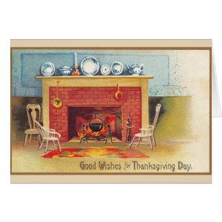 Vintage Thanksgiving Hearth Greeting Card