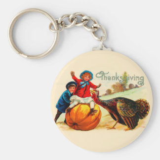 Vintage Thanksgiving Key Ring