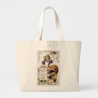 Vintage Thanksgiving Menu and Girl Jumbo Tote Jumbo Tote Bag