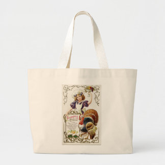 Vintage Thanksgiving Menu and Girl Jumbo Tote Canvas Bags
