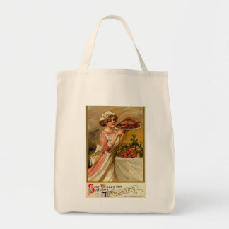 Vintage Thanksgiving Organic Grocery Tote Grocery Tote Bag