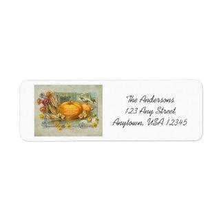 Vintage Thanksgiving Pumpkins, Fruit and Flowers Return Address Label