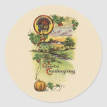 Vintage Thanksgiving Round Sticker