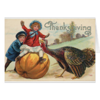 Vintage Thanksgiving Scene. Card