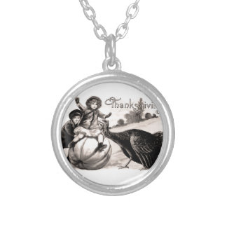 Vintage Thanksgiving Silver Plated Necklace