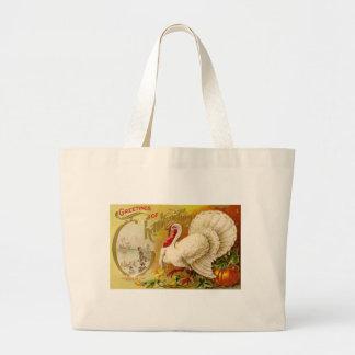 Vintage Thanksgiving Turkey Jumbo Tote Bag