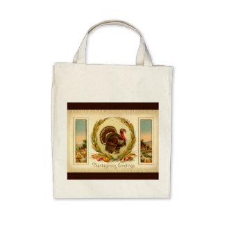 Vintage Thanksgiving Turkey Organic Grocery Tote Bag
