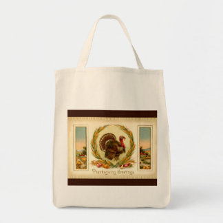 Vintage Thanksgiving Turkey Organic Grocery Tote Grocery Tote Bag