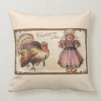 Vintage Thanksgiving, Turkey, Pilgrim Girl Cushion