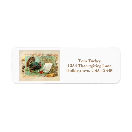 Vintage Thanksgiving Turkey Return Address Label