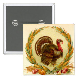Vintage Thanksgiving Turkey Square Button