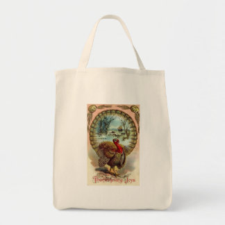 Vintage Thanksgiving Turkey Tote Grocery Tote Bag