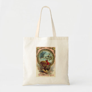 Vintage Thanksgiving Turkey Tote Budget Tote Bag
