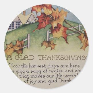 Vintage Thanksgiving - Turkey & Verse Round Sticker