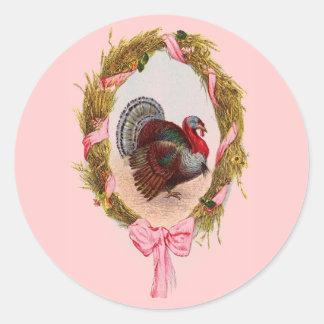 Vintage Thanksgiving Turkey Wreath Stickers