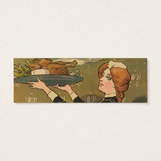 Vintage Thanksgiving Victorian Turkey Mini Business Card