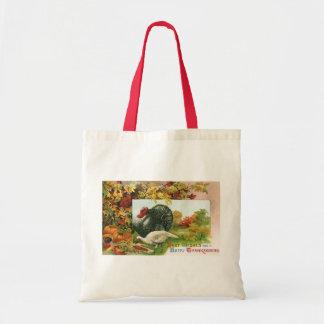 Vintage Thanksgiving, Wild Turkeys Autumn Colors Budget Tote Bag