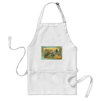 Vintage Thanksgiving with Turkeys and Pilgrims Standard Apron