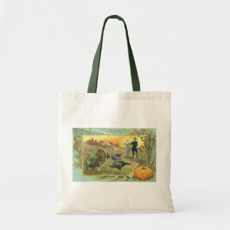 Vintage Thanksgiving with Turkeys and Pilgrims Budget Tote Bag