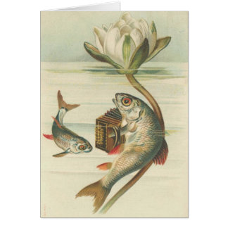 Vintage - The Accordion Playing Fish Card