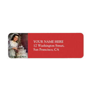 Vintage The Beautiful Bride and Her Wedding Cake Return Address Label