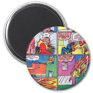 Vintage The Flame Superhero Comic Book Villain 6 Cm Round Magnet
